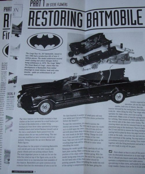CORGI TOYS 267 Three page article on how to restore and refit parts to batmobile